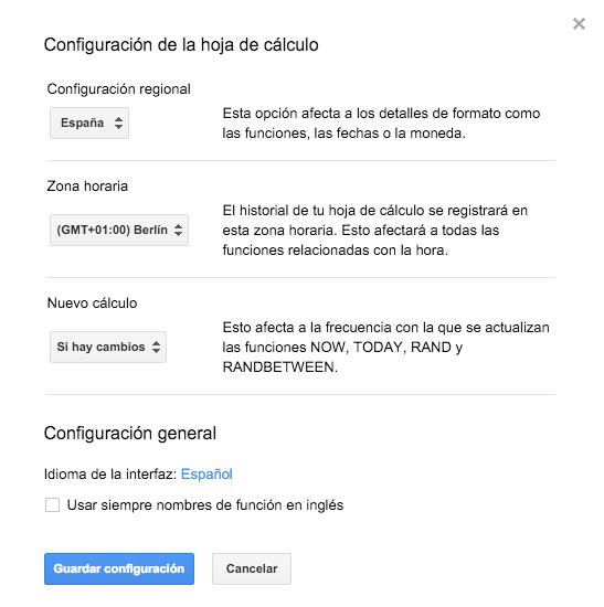 Hoja de cálculo Google Apps