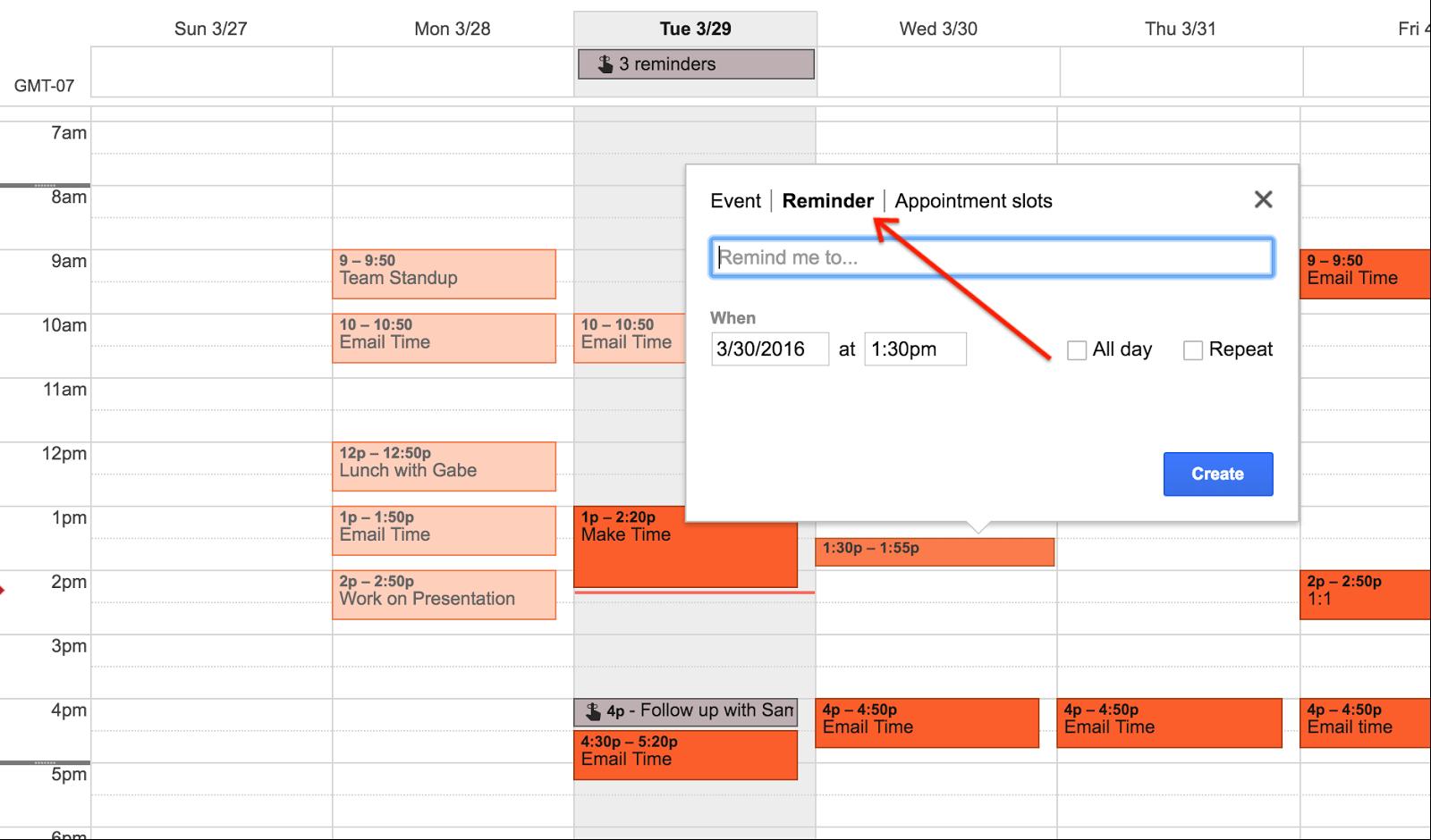 Recordatorio Google Calendar