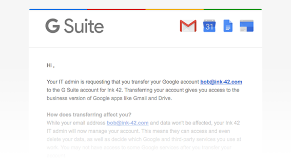 Transferir usuarios G Suite
