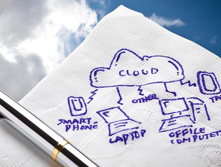 servilleta con boceto de un sistema cloud