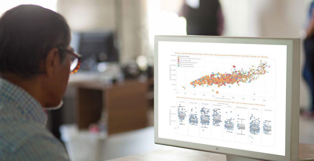 hombre mirando pantalla Tableau Cloud Computing