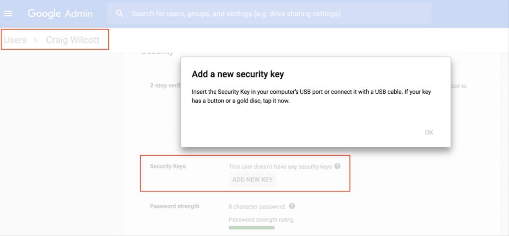 Inscripción de llave de seguridad para usuarios