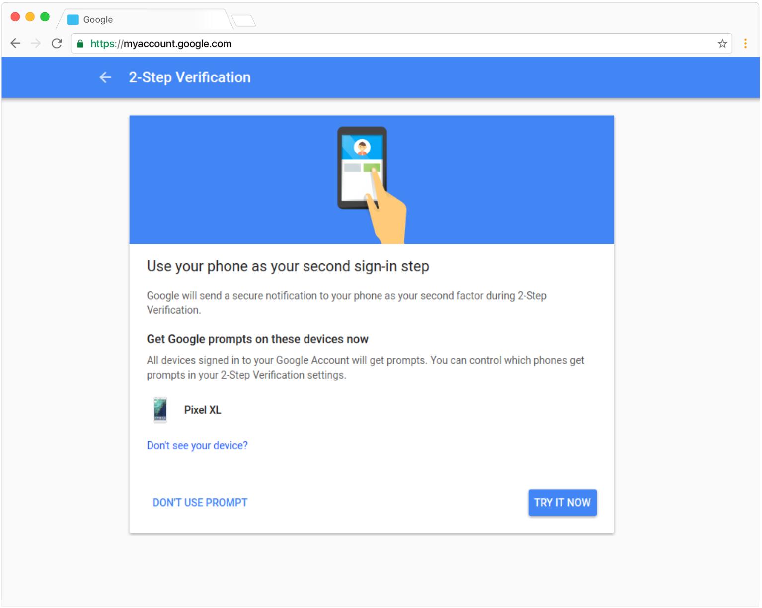 Verificacion en 2 pasos Google prompt