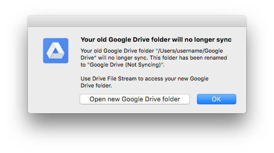 Drive file stream not sync warning