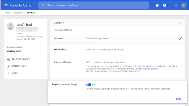 Google password reset