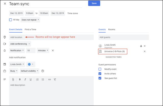 salas de reuniones Calendario de Google